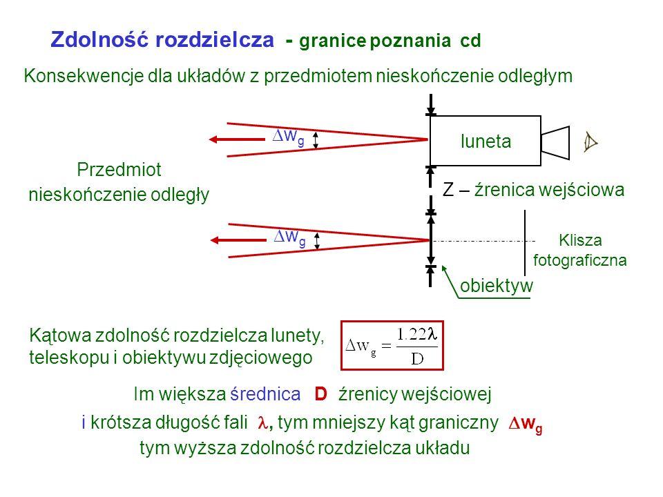 Obiektyw 40 x bez immersji n = 1 Konsekwencje obserwacji przez mikroskop przedmiotów pod dużymi powiększeniami Przyjmując średnio powiększenie obiekty