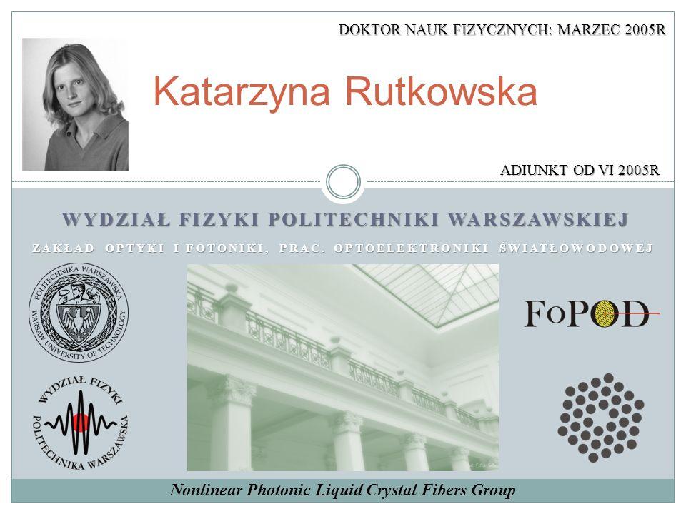 Katarzyna Rutkowska WYDZIAŁ FIZYKI POLITECHNIKI WARSZAWSKIEJ ZAKŁAD OPTYKI I FOTONIKI, PRAC. OPTOELEKTRONIKI ŚWIATŁOWODOWEJ ADIUNKT OD VI 2005R Nonlin