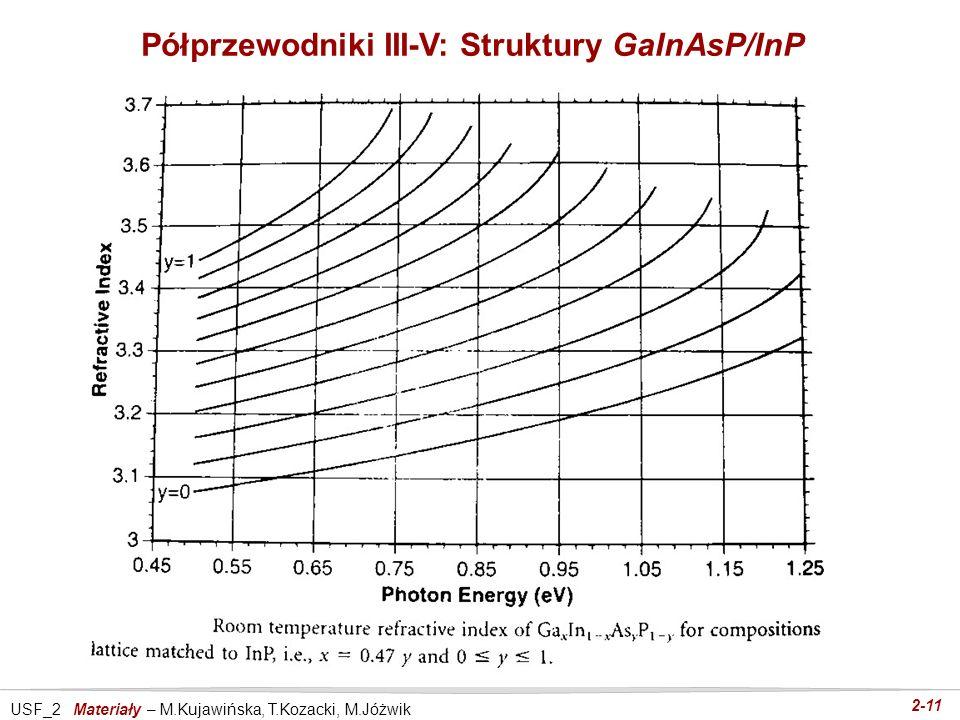 USF_2 Materiały – M.Kujawińska, T.Kozacki, M.Jóżwik 2-11 Półprzewodniki III-V: Struktury GaInAsP/InP