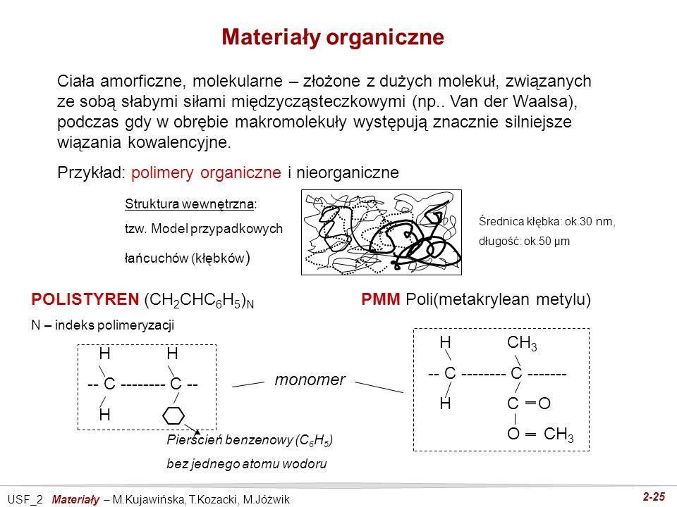 USF_2 Materiały – M.Kujawińska, T.Kozacki, M.Jóżwik 2-25 Materiały organiczne Ciała amorficzne, molekularne – złożone z dużych molekuł, związanych ze