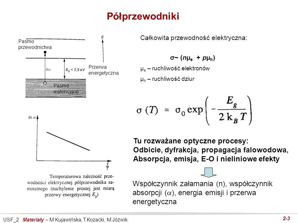 USF_2 Materiały – M.Kujawińska, T.Kozacki, M.Jóżwik 2-3 Półprzewodniki Całkowita przewodność elektryczna: σ~ (nµ e + pµ h ) µ e – ruchliwość elektronó