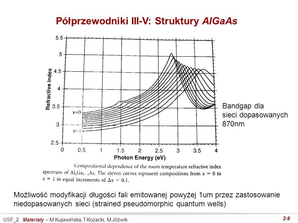 USF_2 Materiały – M.Kujawińska, T.Kozacki, M.Jóżwik 2-9 Półprzewodniki III-V: Struktury AlGaAs Możliwość modyfikacji długości fali emitowanej powyżej