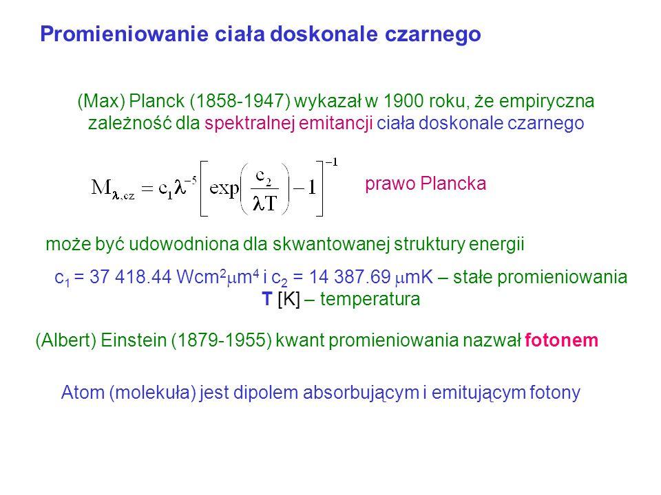 Promieniowanie ciała doskonale czarnego - wstęp M Jednostki względne spektralna emitancja prawo Jeansa według klasycznej termodynamiki promieniowania