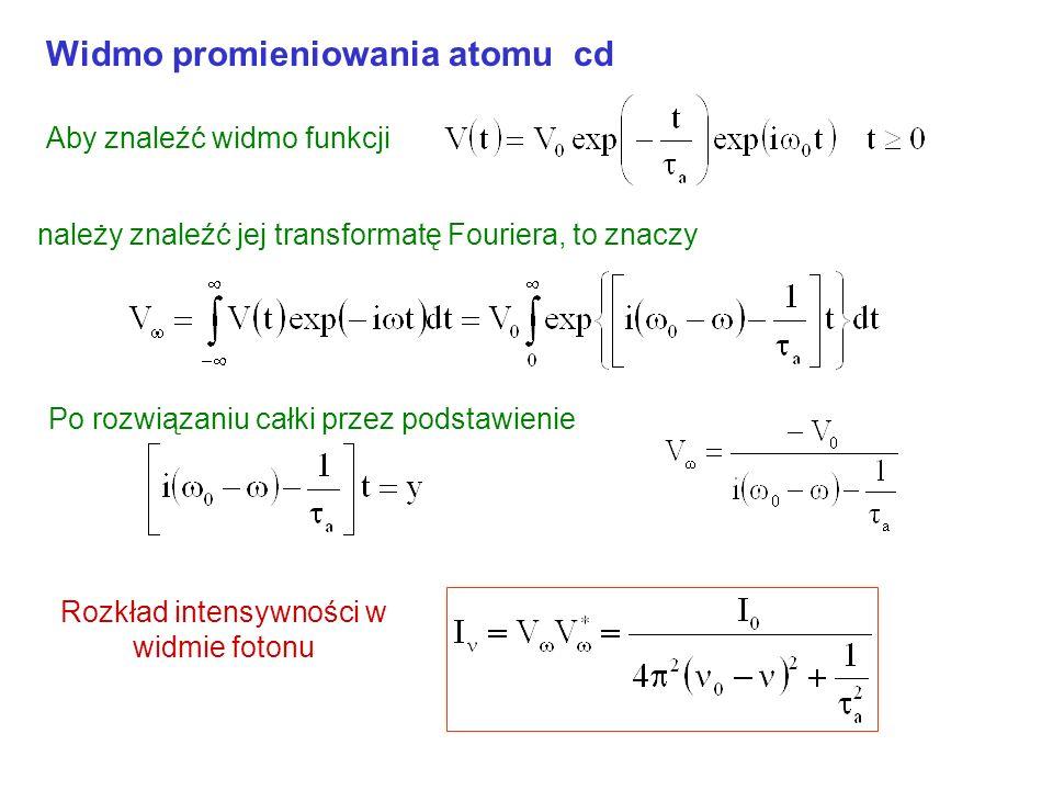 Widmo promieniowania atomu (Jean) Fourier (1768-1830) wykazał, że każdą funkcję f(t) można rozłożyć na zbiór harmonicznych o różnych częstotliwościach