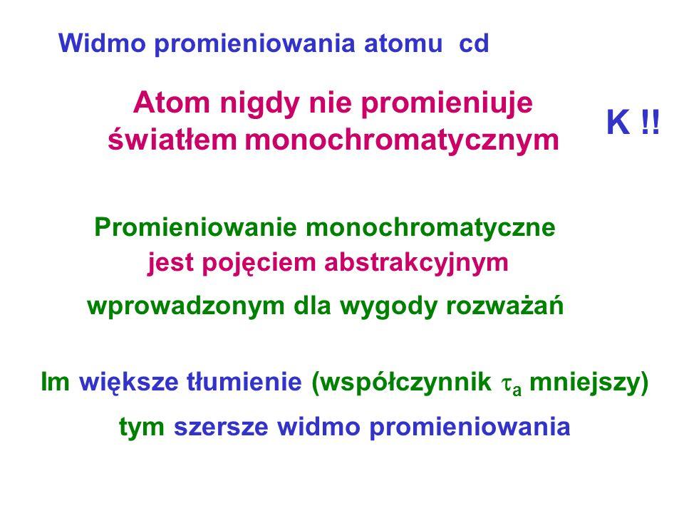 Widmo promieniowania atomu cd 0 I /I 0 Połówkowa szerokość wyznacza się z zależności Promieniowanie monochromatyczne = 0 tylko dla a = Harmoniczna nie