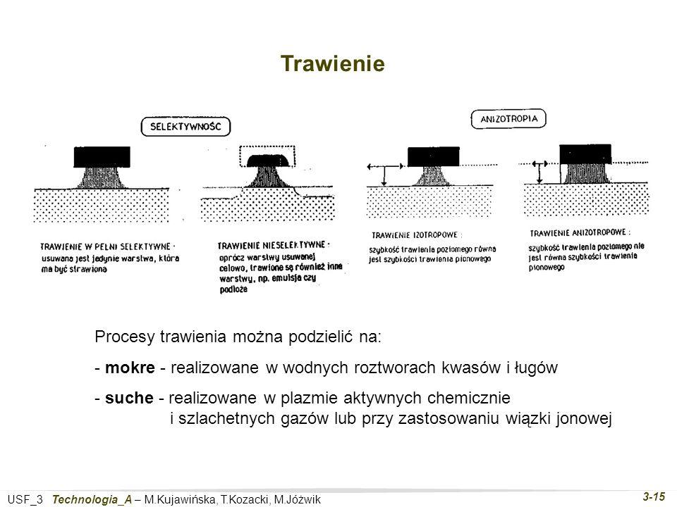 USF_3 Technologia_A – M.Kujawińska, T.Kozacki, M.Jóżwik 3-15 Trawienie Procesy trawienia można podzielić na: - mokre - realizowane w wodnych roztworach kwasów i ługów - suche - realizowane w plazmie aktywnych chemicznie i szlachetnych gazów lub przy zastosowaniu wiązki jonowej