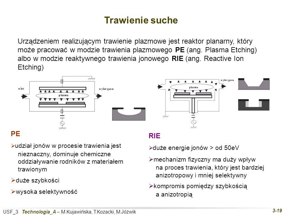 USF_3 Technologia_A – M.Kujawińska, T.Kozacki, M.Jóżwik 3-19 Trawienie suche Urządzeniem realizującym trawienie plazmowe jest reaktor planarny, który może pracować w modzie trawienia plazmowego PE (ang.