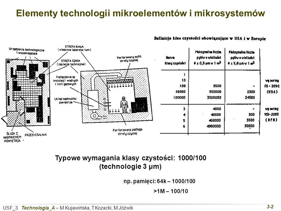 USF_3 Technologia_A – M.Kujawińska, T.Kozacki, M.Jóżwik 3-2 Elementy technologii mikroelementów i mikrosystemów Typowe wymagania klasy czystości: 1000/100 (technologie 3 μm) np.