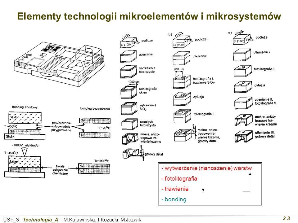 USF_3 Technologia_A – M.Kujawińska, T.Kozacki, M.Jóżwik 3-3 Elementy technologii mikroelementów i mikrosystemów - wytwarzanie (nanoszenie) warstw - fotolitografia - trawienie - bonding