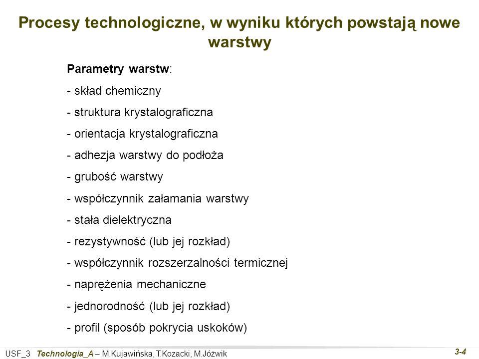 USF_3 Technologia_A – M.Kujawińska, T.Kozacki, M.Jóżwik 3-4 Procesy technologiczne, w wyniku których powstają nowe warstwy Parametry warstw: - skład chemiczny - struktura krystalograficzna - orientacja krystalograficzna - adhezja warstwy do podłoża - grubość warstwy - współczynnik załamania warstwy - stała dielektryczna - rezystywność (lub jej rozkład) - współczynnik rozszerzalności termicznej - naprężenia mechaniczne - jednorodność (lub jej rozkład) - profil (sposób pokrycia uskoków)