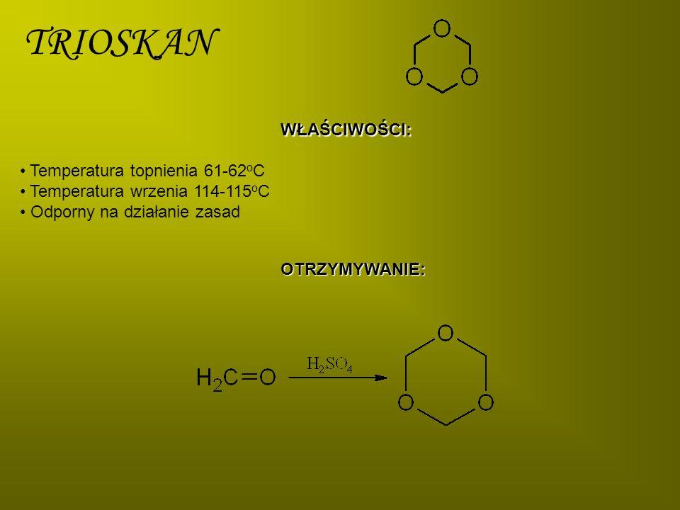 POLIFORMALDEHYD Wiązanie hemiacetalowe w poliformaldehydzie ulega degradacji w temperaturze 80 o C w wyniku czego powstają wiązania aldehydowe.