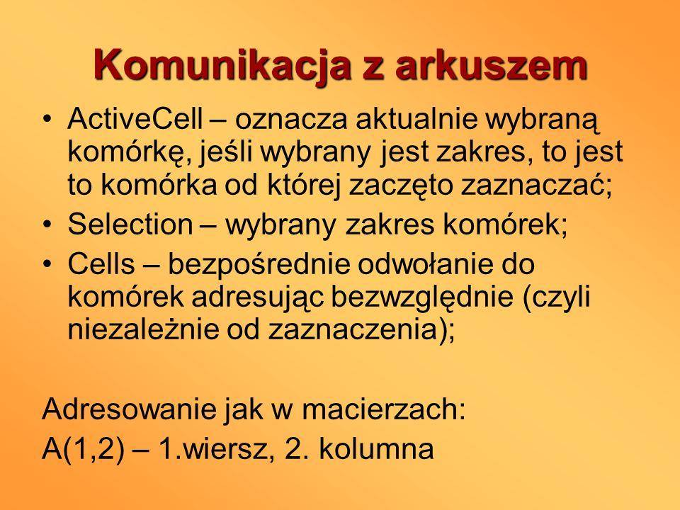 Komunikacja z arkuszem ActiveCell – oznacza aktualnie wybraną komórkę, jeśli wybrany jest zakres, to jest to komórka od której zaczęto zaznaczać; Sele