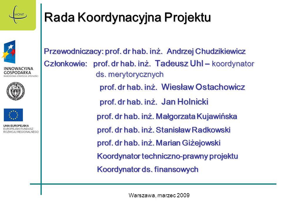 Warszawa, marzec 2009 Rada Koordynacyjna Projektu Przewodniczacy: prof. dr hab. inż. Andrzej Chudzikiewicz Członkowie: prof. dr hab. inż. Tadeusz Uhl