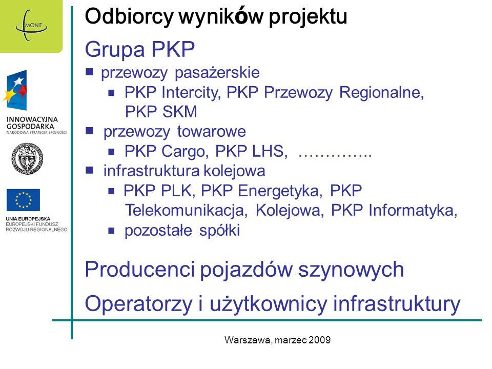 Warszawa, marzec 2009 Odbiorcy wynik ó w projektu Grupa PKP przewozy pasażerskie PKP Intercity, PKP Przewozy Regionalne, PKP SKM przewozy towarowe PKP