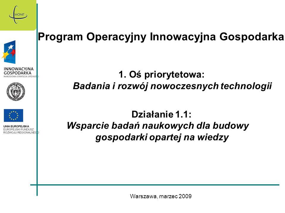 Warszawa, marzec 2009 Program Operacyjny Innowacyjna Gospodarka 1.Oś priorytetowa: Badania i rozwój nowoczesnych technologii Działanie 1.1: Wsparcie b
