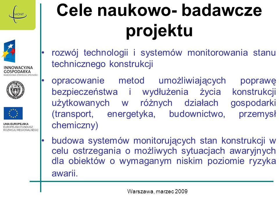 Warszawa, marzec 2009 Cele naukowo- badawcze projektu rozwój technologii i systemów monitorowania stanu technicznego konstrukcji opracowanie metod umo