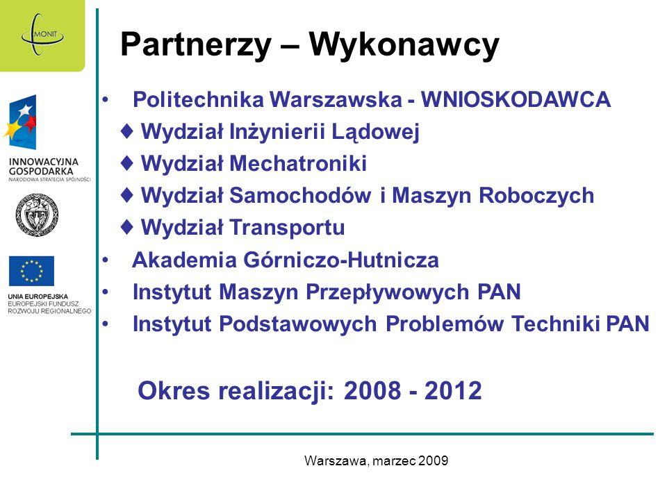 Warszawa, marzec 2009 Partnerzy – Wykonawcy Politechnika Warszawska - WNIOSKODAWCA Wydział Inżynierii Lądowej Wydział Mechatroniki Wydział Samochodów