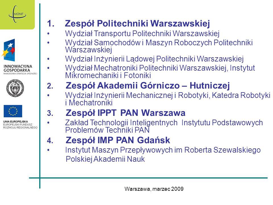Warszawa, marzec 2009 1.Zespół Politechniki Warszawskiej Wydział Transportu Politechniki Warszawskiej Wydział Samochodów i Maszyn Roboczych Politechni