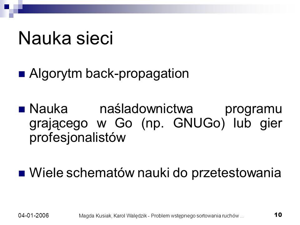 Magda Kusiak, Karol Walędzik - Problem wstępnego sortowania ruchów... 10 04-01-2006 Nauka sieci Algorytm back-propagation Nauka naśladownictwa program