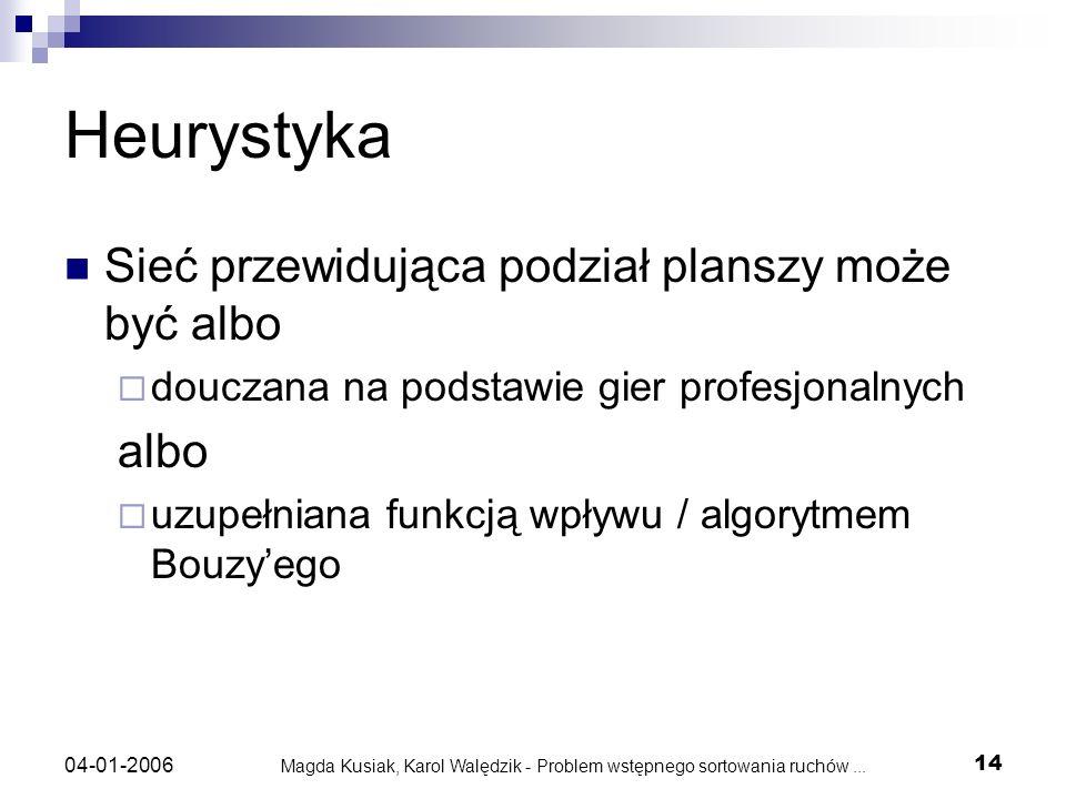Magda Kusiak, Karol Walędzik - Problem wstępnego sortowania ruchów... 14 04-01-2006 Heurystyka Sieć przewidująca podział planszy może być albo douczan