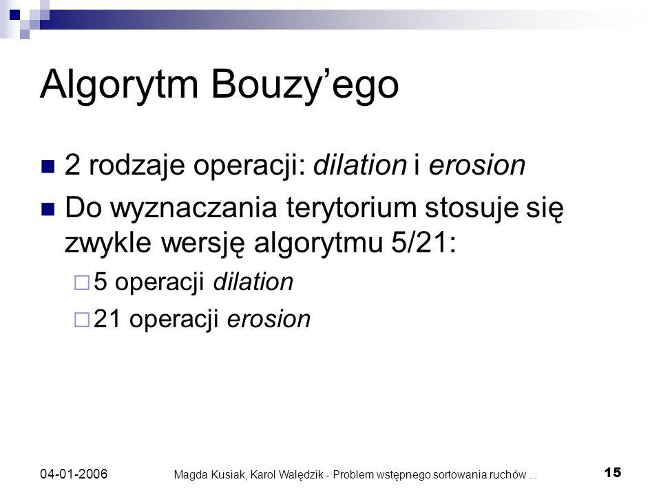 Magda Kusiak, Karol Walędzik - Problem wstępnego sortowania ruchów... 15 04-01-2006 Algorytm Bouzyego 2 rodzaje operacji: dilation i erosion Do wyznac