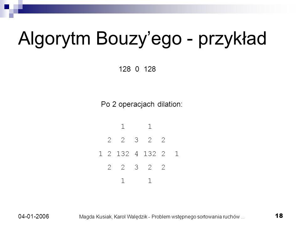 Magda Kusiak, Karol Walędzik - Problem wstępnego sortowania ruchów... 18 04-01-2006 Algorytm Bouzyego - przykład 128 0 128 1 1 2 2 3 2 2 1 2 132 4 132