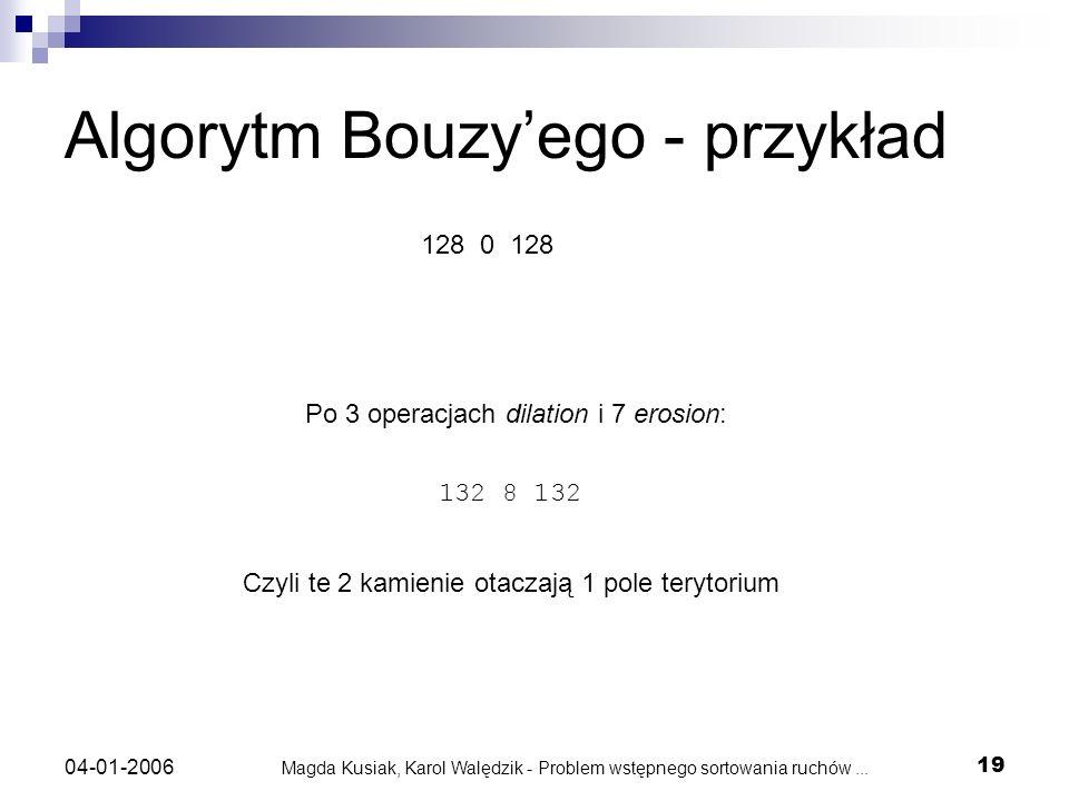 Magda Kusiak, Karol Walędzik - Problem wstępnego sortowania ruchów... 19 04-01-2006 Algorytm Bouzyego - przykład 128 0 128 132 8 132 Po 3 operacjach d