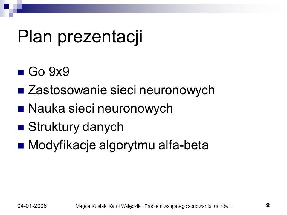 Magda Kusiak, Karol Walędzik - Problem wstępnego sortowania ruchów... 2 04-01-2006 Plan prezentacji Go 9x9 Zastosowanie sieci neuronowych Nauka sieci