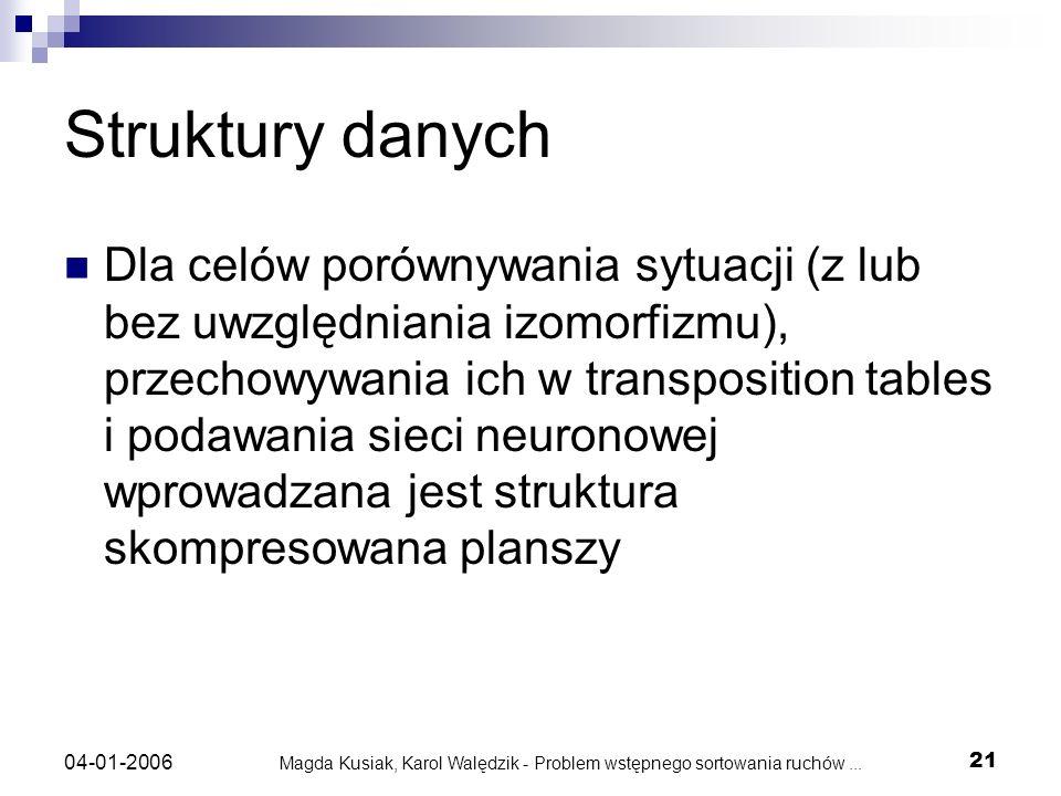 Magda Kusiak, Karol Walędzik - Problem wstępnego sortowania ruchów... 21 04-01-2006 Struktury danych Dla celów porównywania sytuacji (z lub bez uwzglę