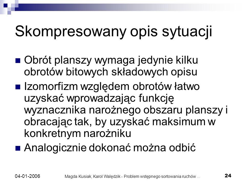 Magda Kusiak, Karol Walędzik - Problem wstępnego sortowania ruchów... 24 04-01-2006 Skompresowany opis sytuacji Obrót planszy wymaga jedynie kilku obr