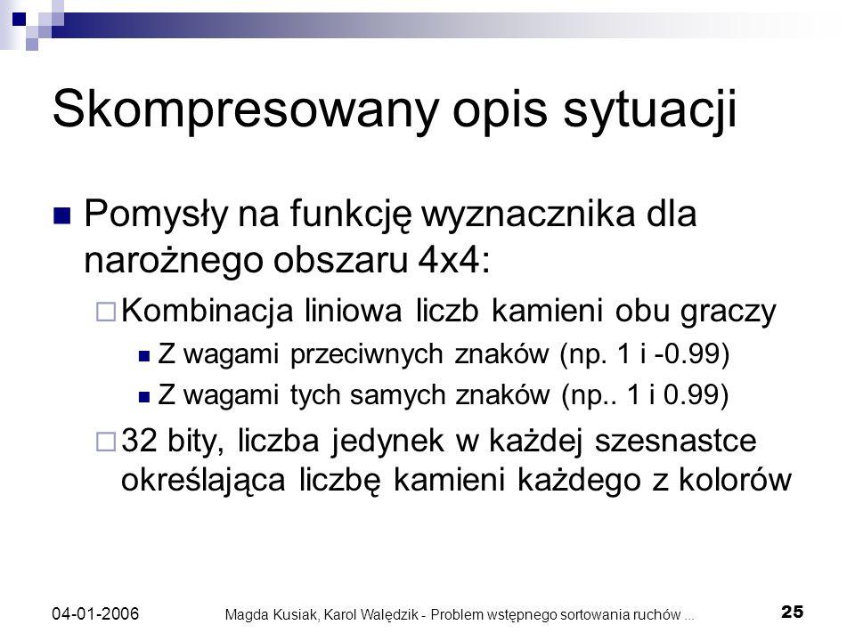Magda Kusiak, Karol Walędzik - Problem wstępnego sortowania ruchów... 25 04-01-2006 Skompresowany opis sytuacji Pomysły na funkcję wyznacznika dla nar