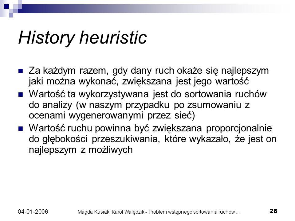 Magda Kusiak, Karol Walędzik - Problem wstępnego sortowania ruchów... 28 04-01-2006 History heuristic Za każdym razem, gdy dany ruch okaże się najleps