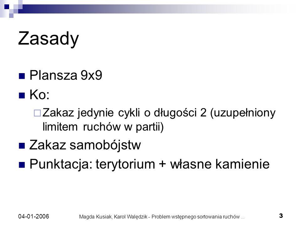 Magda Kusiak, Karol Walędzik - Problem wstępnego sortowania ruchów... 3 04-01-2006 Zasady Plansza 9x9 Ko: Zakaz jedynie cykli o długości 2 (uzupełnion