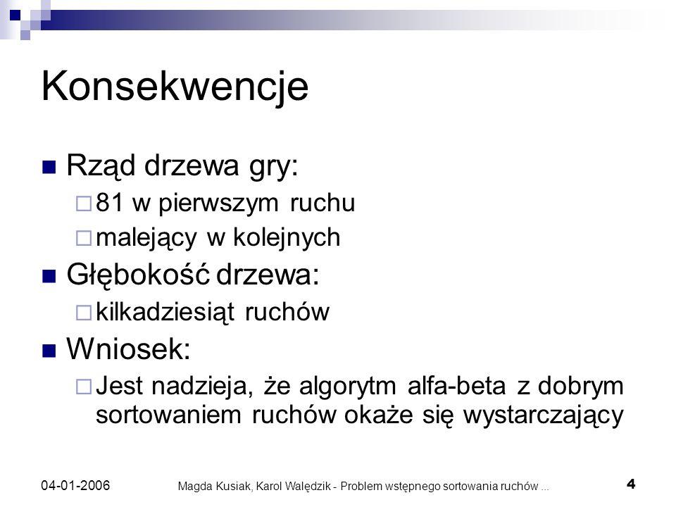 Magda Kusiak, Karol Walędzik - Problem wstępnego sortowania ruchów... 4 04-01-2006 Konsekwencje Rząd drzewa gry: 81 w pierwszym ruchu malejący w kolej