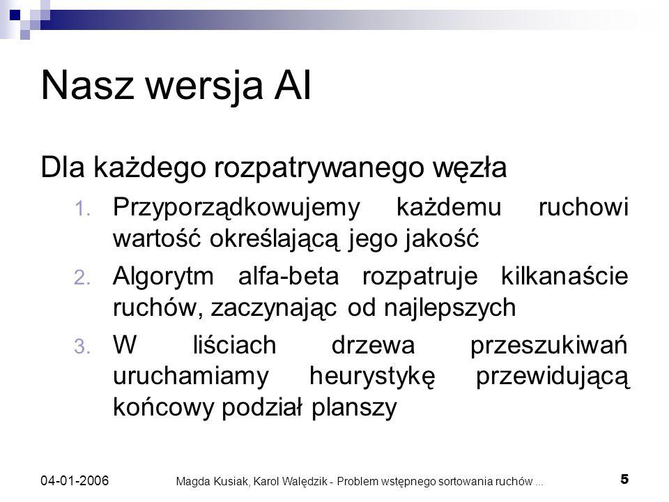 Magda Kusiak, Karol Walędzik - Problem wstępnego sortowania ruchów... 5 04-01-2006 Nasz wersja AI Dla każdego rozpatrywanego węzła 1. Przyporządkowuje