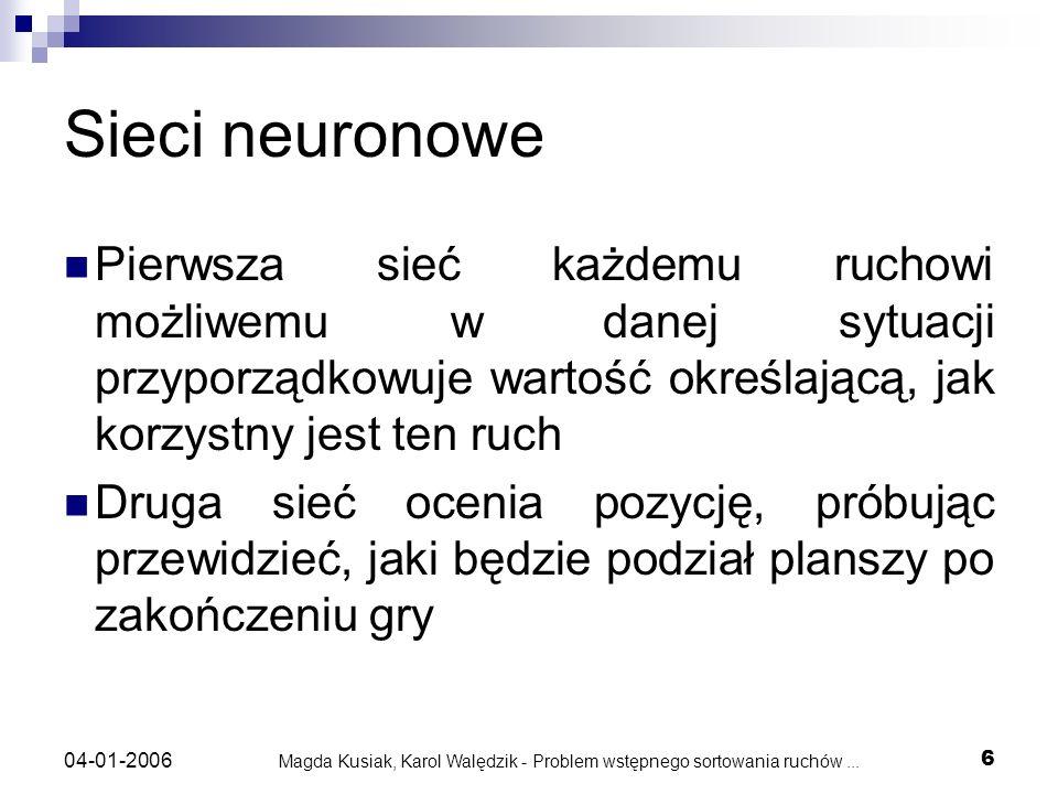 Magda Kusiak, Karol Walędzik - Problem wstępnego sortowania ruchów... 6 04-01-2006 Sieci neuronowe Pierwsza sieć każdemu ruchowi możliwemu w danej syt