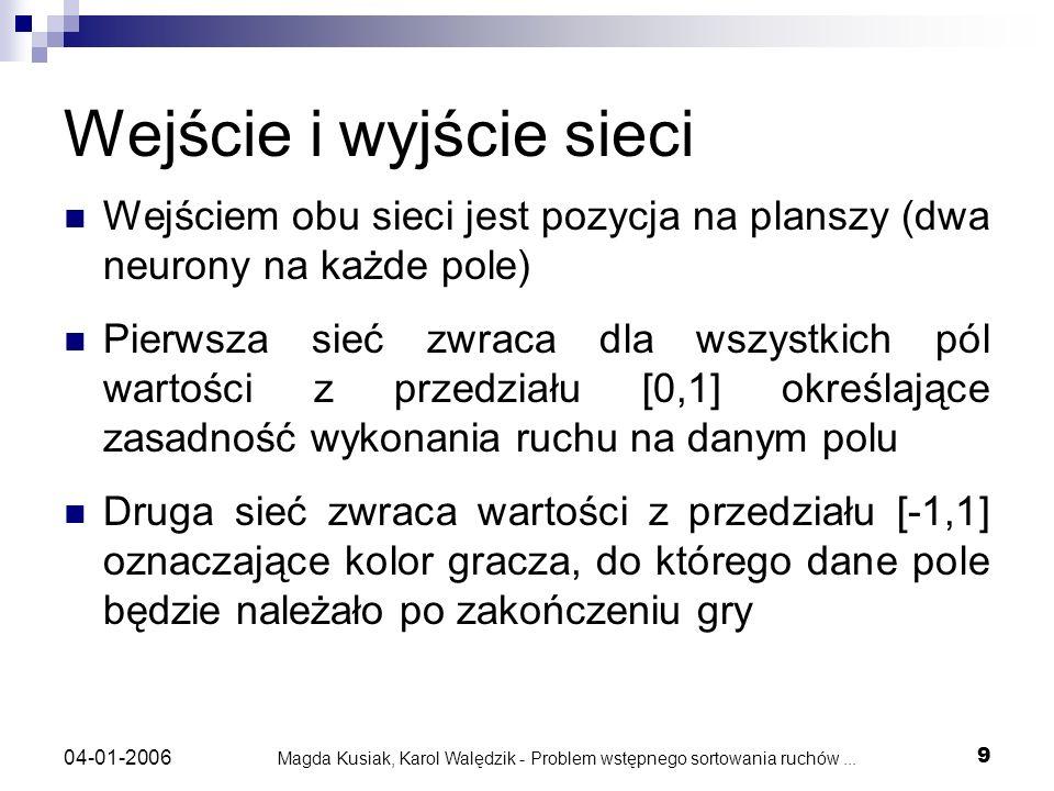 Magda Kusiak, Karol Walędzik - Problem wstępnego sortowania ruchów... 9 04-01-2006 Wejście i wyjście sieci Wejściem obu sieci jest pozycja na planszy