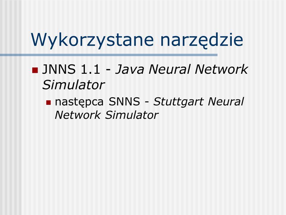 Testowane sieci neuronowe Jednokierunkowe wielowarstwowe Losowa inicjalizacja wag z przedziału [-1.0, 1.0] Neurony funkcja aktywacji: sigmoidalna unipolarna (logistyczna) funkcja wyjściowa: identyczność