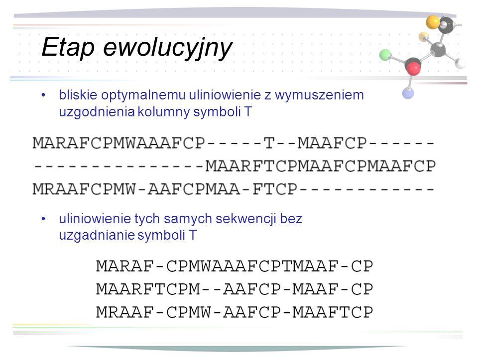 Etap ewolucyjny bliskie optymalnemu uliniowienie z wymuszeniem uzgodnienia kolumny symboli T uliniowienie tych samych sekwencji bez uzgadnianie symbol