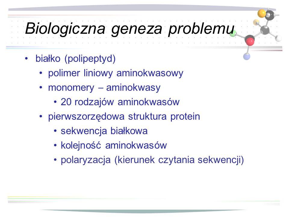 Biologiczna geneza problemu białko ( polipeptyd ) polimer liniowy aminokwasowy monomery – aminokwasy 20 rodzajów aminokwasów pierwszorzędowa struktura