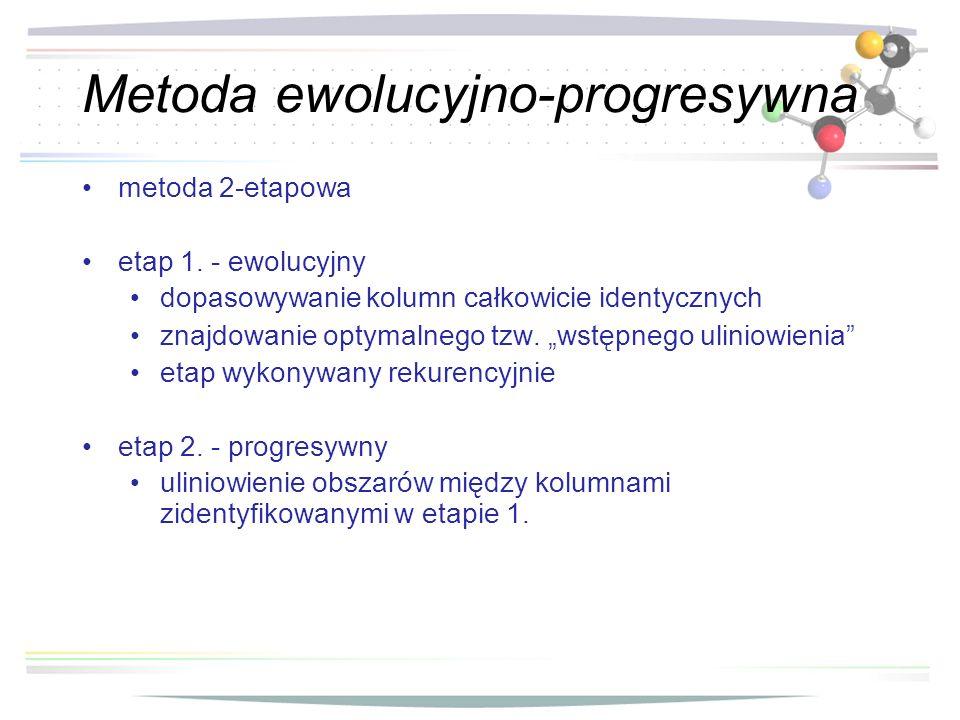 Metoda ewolucyjno-progresywna m etoda 2-etapowa etap 1. - ewolucyjny dopasowywanie kolumn całkowicie identycznych znajdowanie optymalnego tzw. wstępne