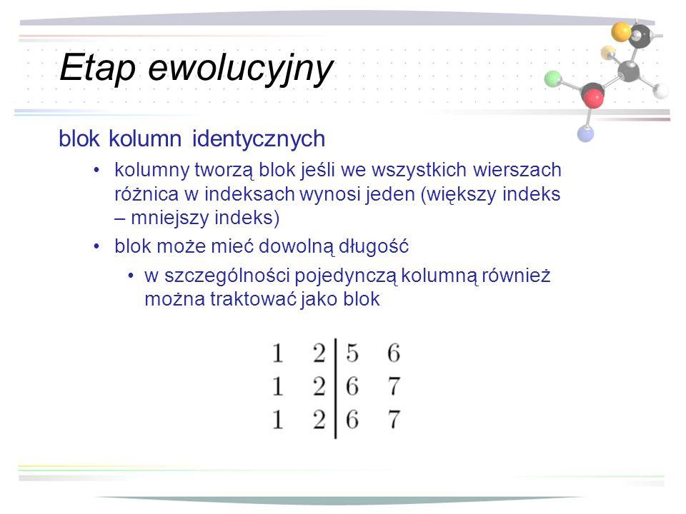 Etap ewolucyjny blok kolumn identycznych kolumny tworzą blok jeśli we wszystkich wierszach różnica w indeksach wynosi jeden (większy indeks – mniejszy