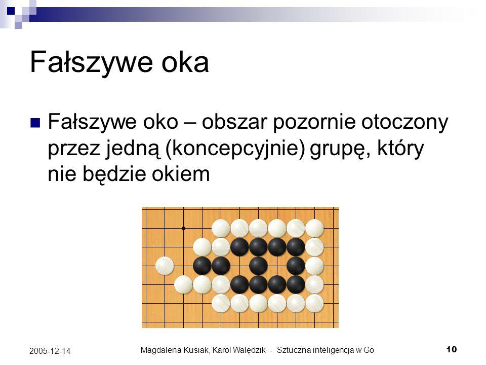 Magdalena Kusiak, Karol Walędzik - Sztuczna inteligencja w Go10 2005-12-14 Fałszywe oka Fałszywe oko – obszar pozornie otoczony przez jedną (koncepcyj