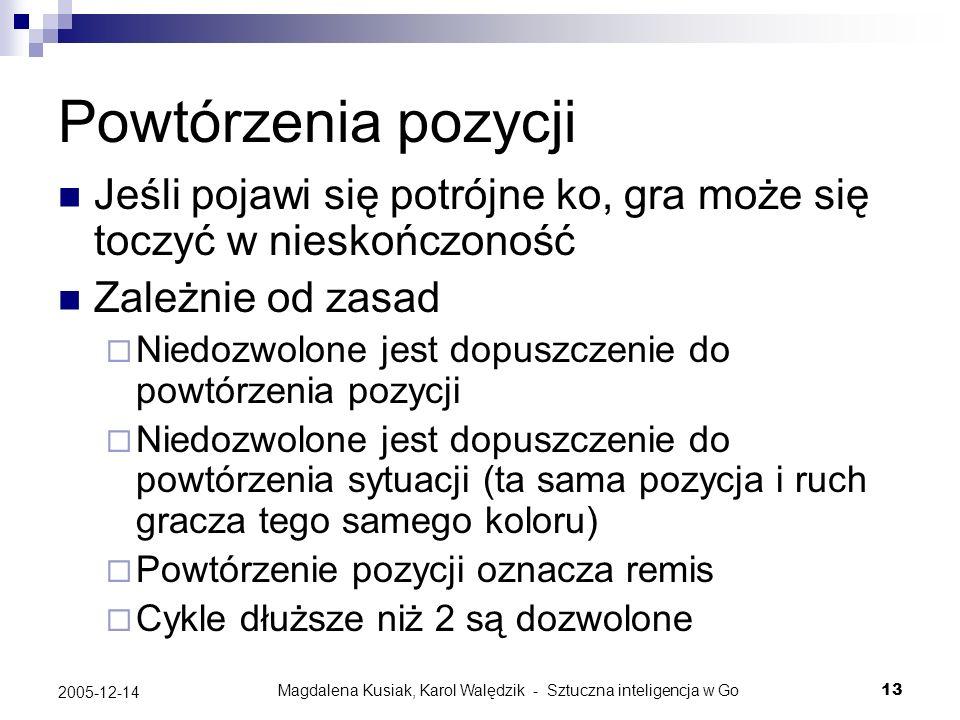 Magdalena Kusiak, Karol Walędzik - Sztuczna inteligencja w Go13 2005-12-14 Powtórzenia pozycji Jeśli pojawi się potrójne ko, gra może się toczyć w nie