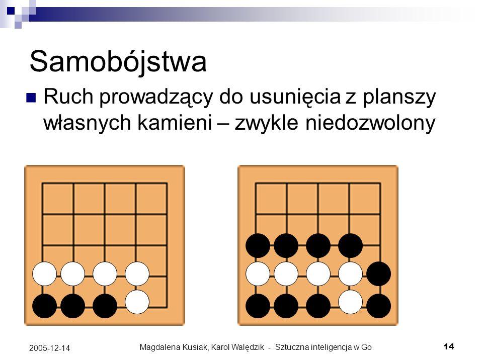 Magdalena Kusiak, Karol Walędzik - Sztuczna inteligencja w Go14 2005-12-14 Samobójstwa Ruch prowadzący do usunięcia z planszy własnych kamieni – zwykl