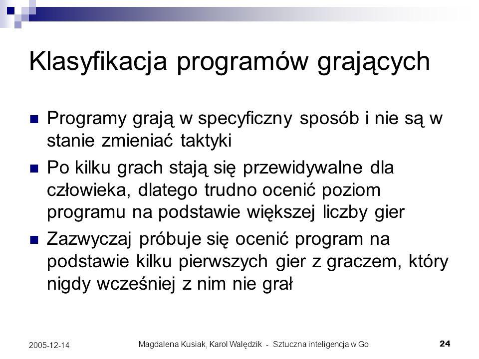 Magdalena Kusiak, Karol Walędzik - Sztuczna inteligencja w Go24 2005-12-14 Klasyfikacja programów grających Programy grają w specyficzny sposób i nie