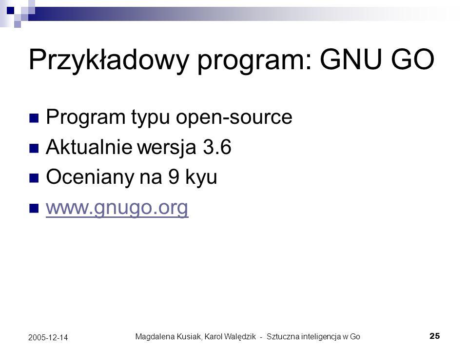 Magdalena Kusiak, Karol Walędzik - Sztuczna inteligencja w Go25 2005-12-14 Przykładowy program: GNU GO Program typu open-source Aktualnie wersja 3.6 O