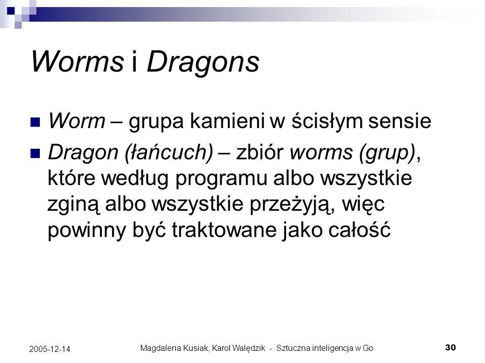 Magdalena Kusiak, Karol Walędzik - Sztuczna inteligencja w Go30 2005-12-14 Worms i Dragons Worm – grupa kamieni w ścisłym sensie Dragon (łańcuch) – zb