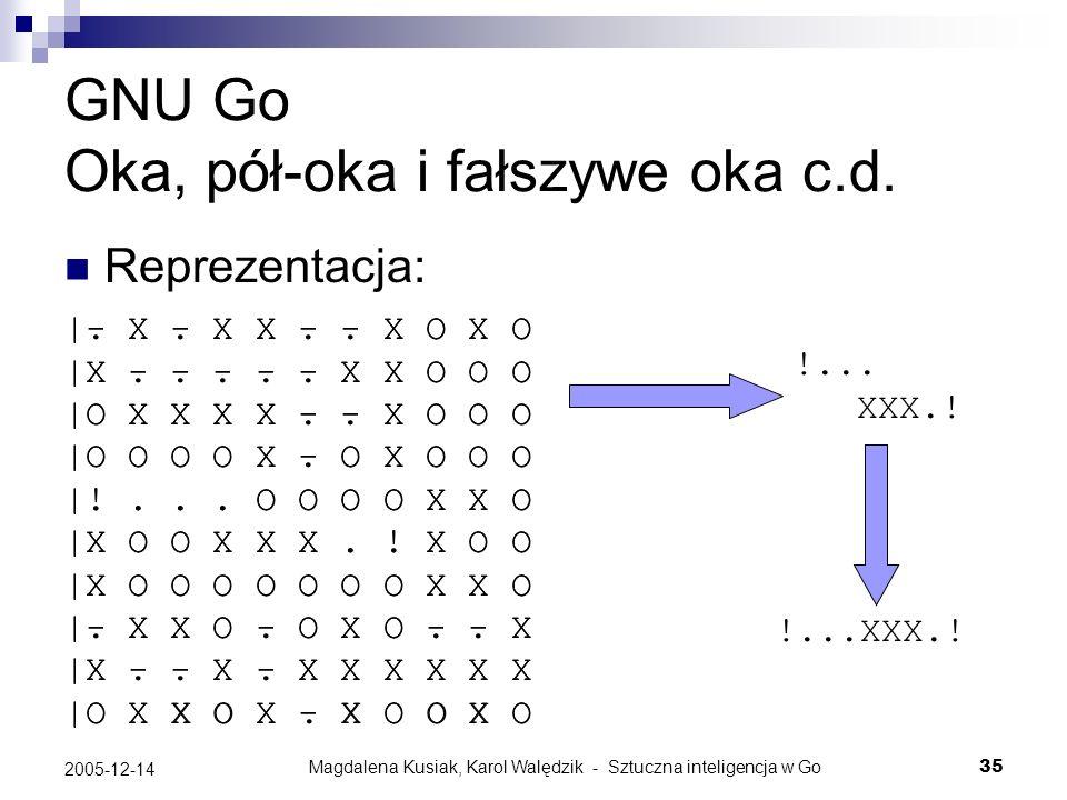 Magdalena Kusiak, Karol Walędzik - Sztuczna inteligencja w Go35 2005-12-14 GNU Go Oka, pół-oka i fałszywe oka c.d. Reprezentacja: |- X - X X - - X O X