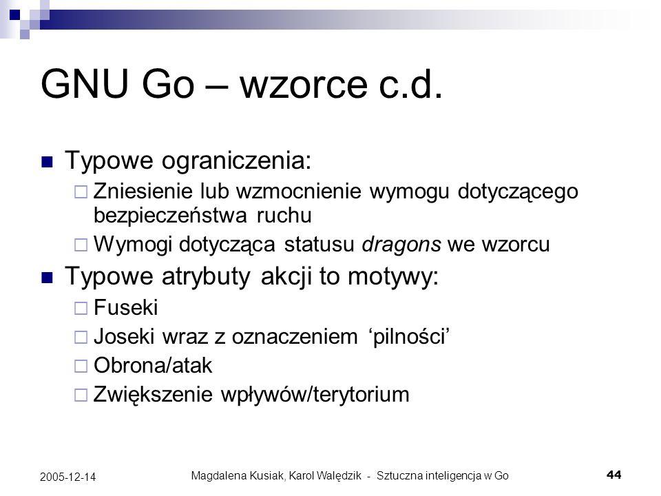 Magdalena Kusiak, Karol Walędzik - Sztuczna inteligencja w Go44 2005-12-14 GNU Go – wzorce c.d. Typowe ograniczenia: Zniesienie lub wzmocnienie wymogu